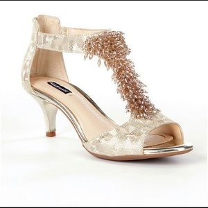Alex Marie Beaded Champagne Gold Heels Size 6